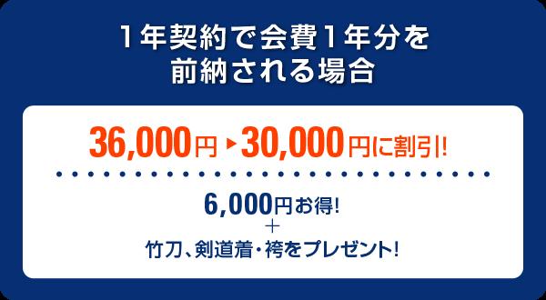 1年契約で会費1年分を前納する場合、36,000円→30,000円に割引(6,000円 お得 竹刀、剣道着・袴をプレゼント。)